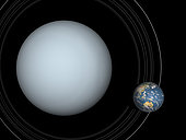 Artist's concept showing Uranus (left) and Earth (right) to scale. Uranus is four times the diameter of Earth. Uranus is the seventh planet from the Sun, Earth is the third.