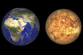 Artist's concept showing Earth and Venus without their atmospheres. While Venus is roughly the same size and density as the Earth, it is otherwise a very different world. Earth's surface is a varied one, with liquid water covering three quarters of its surface. Those areas not under water have been highly modified by plate tectonics, weather, and life itself. Venus on the other hand is far too hot to host liquid water. Volcanoes, massive lava flows and the occasional impact crater characterize its surface.