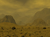 Artist's concept of the surface of Venus. A visit to Venus' surface would reveal a wasteland of vast proportions. While Venus is nearly as large as the Earth, it has over three times the land mass (most of the Earth's surface is under water). The conditions are so dry and hostile to life as we know it, or can imagine it, the surface of Venus is likely as sterile as an autoclave. . . Venus' surface is actually hotter than Mercury's, despite being nearly twice as far from the Sun. It is so hot that the stony venusian ground itself may be slightly plastic and emit a red glow at night. The closest the Earth comes to matching this combination of extreme pressure and temperature is in the realm of deep undersea volcanic vents.