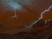 Lightning has been observed in Venus' clouds, however it is not known if lightning strikes the surface as well. If it did, it would be one more infernal element in a nightmare world. Any rain associated with such a storm would likely be in the form of sulfuric acid, and that would evaporate long before it reached the ground, as the surface of Venus is far hotter and dryer than any earthly desert.
