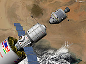 An Orion class command module, upper right, prepares to dock with a Phobos mission rocket in Earth orbit. Below at a distance of approximately 200 miles is the eastern Sahara desert. Lower left are the crew quarters for the 16 month mission.