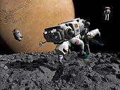 An astrogeologist in a spacesuit and manned maneuvering unit (MMU) makes the first human contact with Mars' asteroid-like moon Phobos. On the upper right is another free-ranging astrogeologist descending toward the surface. On the left at a distance of several hundred yards is an Orion-class command module. The command module has ferried the astrogeologists to Phobos from their living accommodations in Mars orbit. At 5,800 miles away, Mars itself looms large, nearly filling the entire sky. Phobos' gravity is so low that its surface could be explored like scuba divers floating over the ocean's bottom.