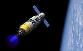 A manned orbital maintenance platform (OMP) docked with a manned reusable crew capsule (RCC) in low Earth orbit ignites an auxiliary liquid-propellant rocket booster in order to lift it to a far higher Earth orbit for an eventual rendezvous with NASA's James Webb Space Telescope (JWST). At this configuration the spacecraft has a total length of 110 feet with a maximum diameter of 18 feet.