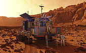 A manned rover pauses in a martian canyon while an explorer in a protective pressurized suit departs. . This rover provides a pressurized shirtsleeve environment enabling a crew of two to explore a large amount of martian surface for weeks at a time in the relative comfort of an earthbound motor home. For excursions beyond the confines of the rover two pressure suits are mounted on the back. The suits can be entered from within the rover and then detached via an airtight hatch minimizing crew contact with the abrasive and possibly caustic martian dust.