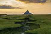 Mont Saint-Michel and its meanders at sunset, Manche, Normandy, France