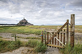 Saltmarsh barrier and footbridge to Mont Saint-Michel, Normandy, France