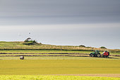 Making straw bales with a hay press in summer, Opal Coast, Pas de Calais, France