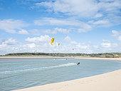 Kitesurfing, Payré Estuary, Veillon Beach, Natura 2000 site, Talmont St Hilaire, Vendée, Pays de Loire, France