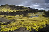 Moss-covered mountains, landscape near Mælifell, Highland, Iceland, Europe