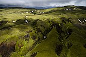 Aerial view, moss-covered landscape, Icelandic Highlands, Iceland, Europe