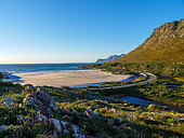 The wonderfully scenic R44 Clarence Drive along the eastern shores of False Bay. Rooi-Else, near Cape Town, Western Cape. South Africa
