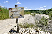 Information panel, quarry in operation, nesting site of European Bee-eater (Merops apiaster), Bank Swallow (Riparia riparia) and Little Gravelot (Charadrius dubius), Oselle, Doubs, France