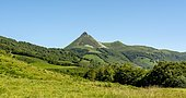 Le Puy Griou mountain in the Auvergne volcanoes regional natural park, Cantal department, Auvergne-Rhone-Alpes, France, Europe