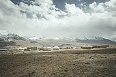 Kyrgyz settlement Khadz Goz of yurts and small stone buildings, plateau, in the background the snowy peaks of the Hindu Kush, Wakhan Corridor, Badakhshan, Afghanistan, Asia