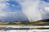 Layers of salt, barren landscape and dark clouds at Tso Kar, a fluctuating salt lake, 4,530 m, Changtang area, Thukje, Jammu and Kashmir, India, Asia