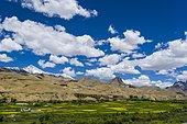 Barren landscape, green fields, blue sky and clouds below Fotu La pass, 4,108 m, on Srinagar-Leh-Highway, Lamayuru, Jammu and Kashmir, India, Asia