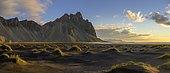 Dune landscape in front of mountain range in the morning light, Klifatindur with Vestrahorn, Höfn, Austurland, Iceland, Europe