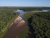 Aerial view of Rio Cuiaba, Pantanal, Mato Grosso, Brazil.