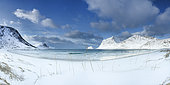 Vik beach in winter, Lofoten, Norway