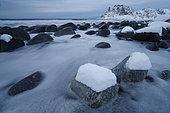 Utakleiv beach in winter, Lofoten, Norway