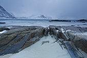 Vik shoreline in winter, Lofoten, Norway