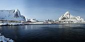 Reine fishing harbour in winter, Lofoten, Norway