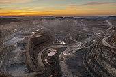 The Cerro Colorado opencast mine at dawn. Rio Tinto mines. Aerial view. Drone shot. Huelva province, Andalusia, Spain.