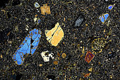 Basalt thin section under cross-polarized light, Field of view - FOV = 3.4 mm , Libya, Tripolitania Province, Mention : UniLaSalle collection
