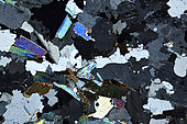 Gn,eiss thin section under cross-polarized light, Field of view - FOV = 3.4 mm , Mention : UniLaSalle collection