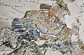 Gabbro thin section under cross-polarized light, Field of view - FOV = 3.4 mm , rolled block in the river Aube, France. Mention : UniLaSalle collection