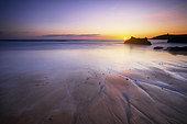 Sunset at Port Blanc, wild coast of Quiberon, Brittany, France