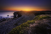 Sunset at Port Blanc Arch, Saint-Pierre-Quiberon, Morbihan, France
