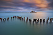 Breakwater and National Fort at sunset, Saint-Malo, Ille-et-Vilaine, Brittany, France
