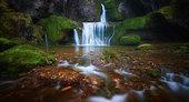 Billaude waterfall in autumn, Jura, France