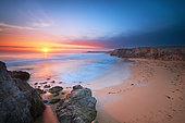 Sunset at Port Bara on the wild coast of Quiberon, Morbihan, Brittany, France