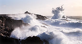 Waves against the rocks during the Elearnor storm at Pointe du Percho, Côte sauvage de Quiberon, Brittany, France