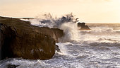 Waves against the rocks during storm Eleanor, Porz Stang, Quiberon, Brittany, France