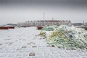 La Matelote and the quays of the port of Calais under the snow, Opal Coast, Pas-de-Calais, France