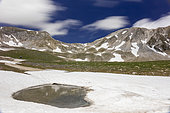 Mountain Landscape, view of mountain tops in Gran Sasso National Park with a patch of snow and a pool in the foreground, Abruzzo, Italy