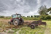 Potato harvesting machine in summer, Pas de Calais, France
