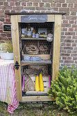 Vegetable sales cabinet in a self-service garden, summer, Pas de Calais, France