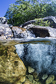 Waterfall in the Tarn, on the Mas Camargues hiking trail, Mont-Lozère, Cévennes National Park, Lozère, Occitanie, France