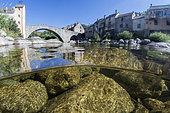 The Tarn river, at Pont de Montvert, Lozère, Occitanie, France