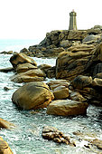 Granite Chaos and Ploumanac'h Lighthouse, Pink Granite Coast, Brittany, France