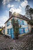 The 17th century Blue HouseGerberoy, a village in the Pays de Bray picard with the label Plus Beaux Villages de France, Oise, France
