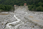 Saint-Martin-Vésubie: the damage caused by storm Alex on 2 October 2020. The bottom of the valleys was formed by sands from the last glaciation and boulders rounded by glacial erosion, Vésubie Valley, Alpes-Maritimes, France