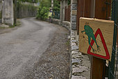 Toad crossing sign on a road in Saint-Martin-Vésubie, Alpes-Maritimes, France