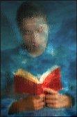 Marianne lisant, vue derrière vitre dépolie