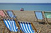 UK/England, Brighton. Brighton, deckchairs on the beach