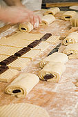 filling and shaping the pains au chocolat